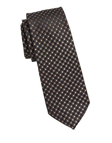 Michael Michael Kors Grid Neat Silk Tie-BEIGE-One Size