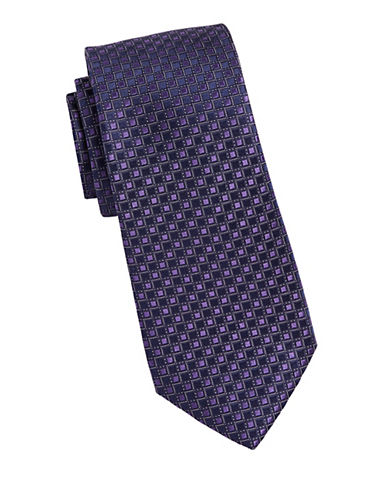 Michael Michael Kors Grid Neat Silk Tie-PURPLE-One Size