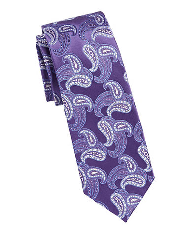 Michael Michael Kors Paisley Silk Tie-PURPLE-One Size