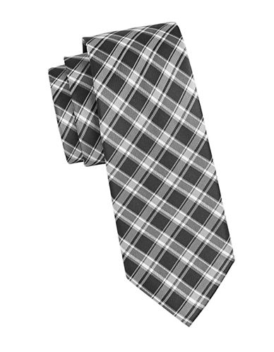 Michael Michael Kors Plaid Silk Tie-GREY-One Size