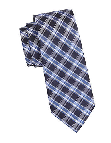 Michael Michael Kors Plaid Silk Tie-BLUE-One Size