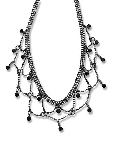 Guess Multi Stone Bib Necklace-BLACK-One Size