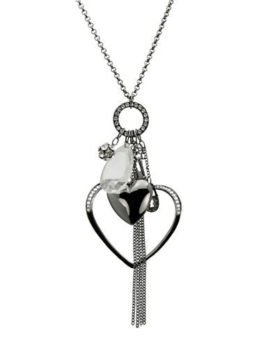 Guess Double Heart And Crystal Fireball Pendant Necklace-BLACK-One Size