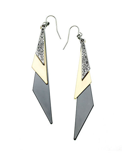 Guess Tri Tone Linear Triangle Drop Earring-GREY-One Size