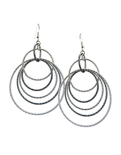 Guess Textured Multi Orbital Hoop Earring-SILVER-One Size