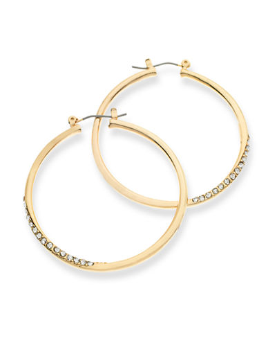 Guess Crystal Accent Hoop Earrings-GOLD-One Size