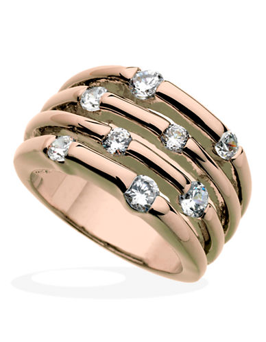Guess Multi Stone Crystal Ring-ROSE GOLD-7