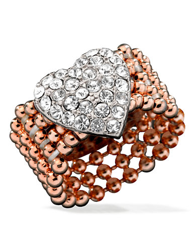Guess Pavé Heart Stretch Ring-ROSE GOLD-One Size