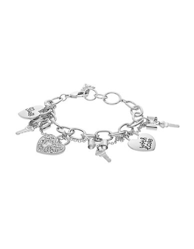 Guess Key and Heart Charm Bracelet-SILVER-One Size