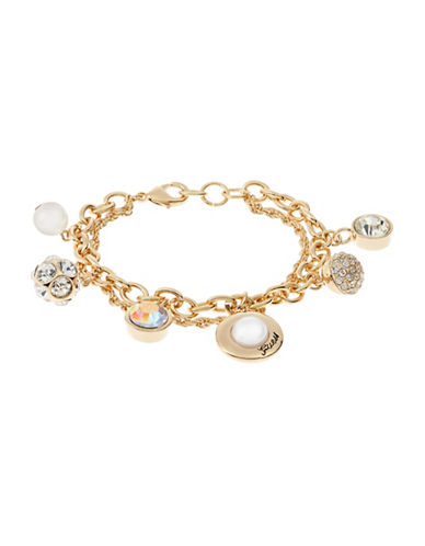 Guess Faux Pearl and Fireball Charm Bracelet-GOLD-One Size