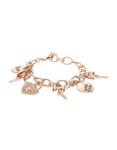 Guess Key and Heart Charm Bracelet-ROSE GOLD-One Size
