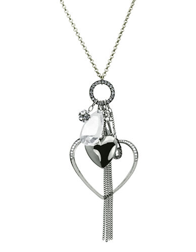 Guess Double Heart Charm Necklace-SILVER-One Size