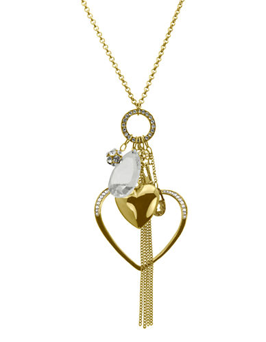 Guess Double Heart Charm Necklace-GOLD-One Size