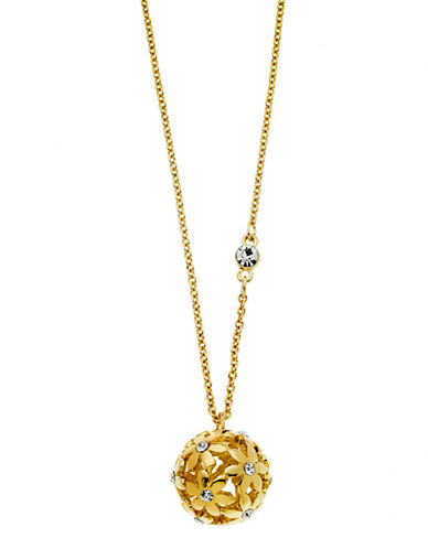 Guess Floral Pendant Crystal Accent Necklace-GOLD-One Size