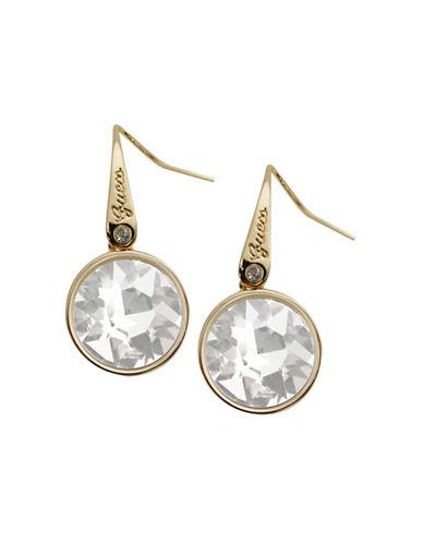 Guess Bezel Drop Earrings-GOLD-One Size