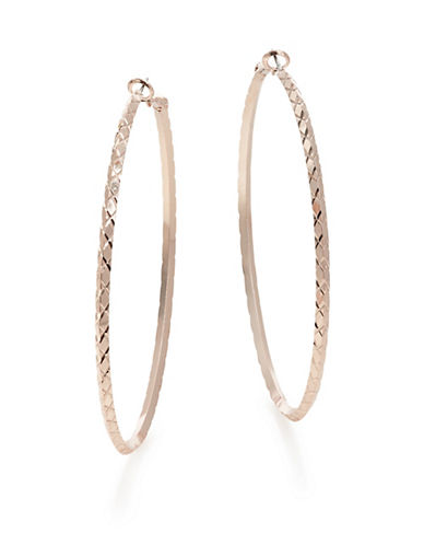 Guess Textured Hoop Earrings-ROSE GOLD-One Size