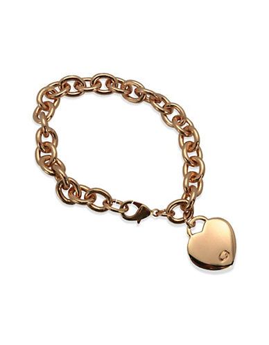 Guess Logo Heart Bracelet-ROSE GOLD-One Size