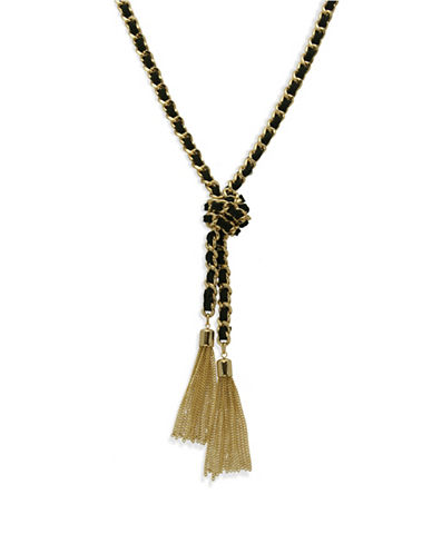 Guess Tassel Suede Necklace-GOLD-One Size