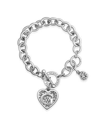 Guess Silver Logo Heart Charm Toggle Bracelet-SILVER-One Size