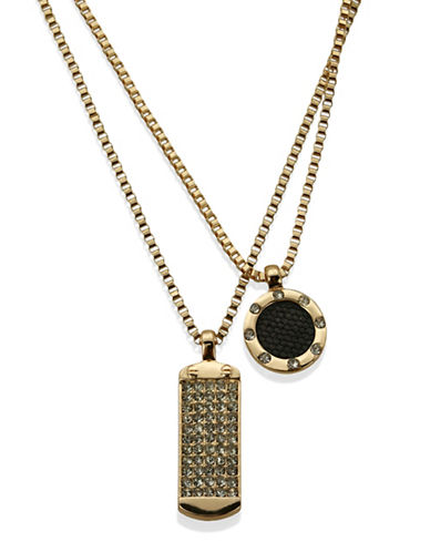 Guess Layered Crystal Accent Necklace-GOLD-One Size