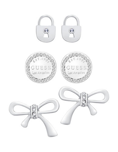 Guess Locks and Bows Trio Earrings Set-SILVER-One Size