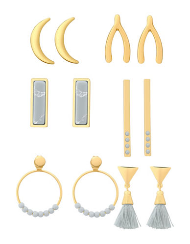 Guess Multi Value Rosegold Earrings Set-GREY-One Size