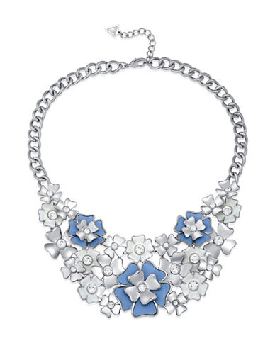 Guess Imitation Rhodium Floral Pendant Statement Necklace-BLUE-One Size