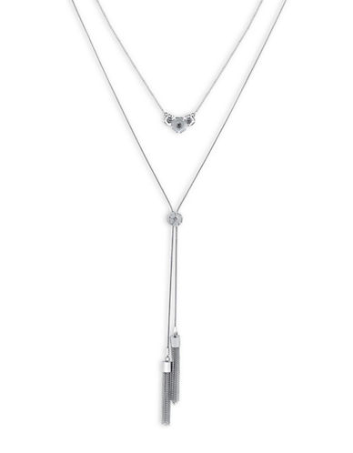 Guess Imitation Rhodium Two-Row Tassel Necklace-SILVER-One Size