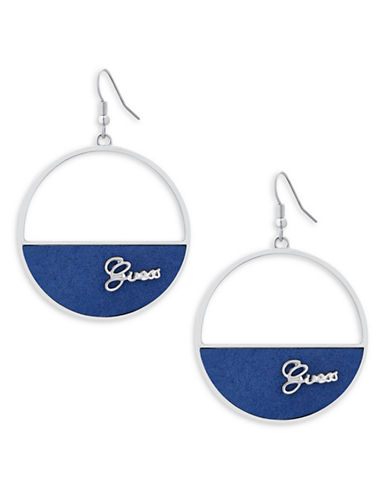 Guess Imitation Rhodium Drop Earrings-BLUE-One Size