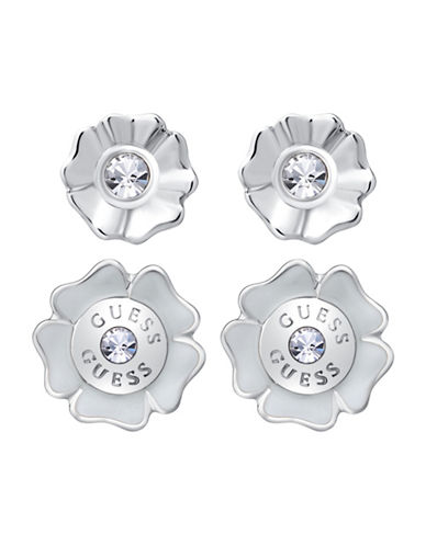 Guess Imitation Rhodium Flower Stud Earrings Set-SILVER-One Size