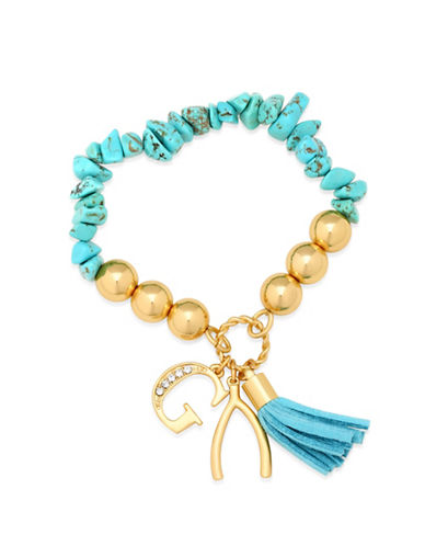 Guess Turquoise and Imitation Gold Charm Stretch Bracelet-TURQUOISE-One Size