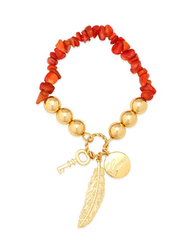 Guess Coral and Imitation Gold Charm Stretch Bracelet-RED-One Size