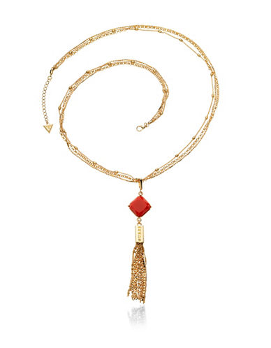 Guess Desert Gypsy Goldtone Linear Tassel Necklace-ORANGE-One Size
