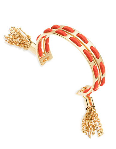 Guess Desert Gypsy Goldtone Braided Tassel Cuff Bracelet-ORANGE-One Size