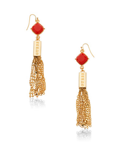 Guess Desert Gypsy Tassel Fish Hook Earrings-ORANGE-One Size