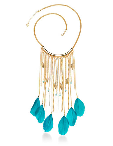 Guess Multi Chain Goldtone Feather Charm Necklace-TURQUOISE-One Size