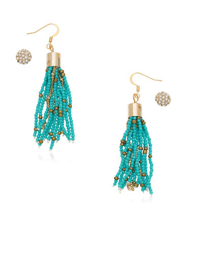 Guess Goldtone Duo Earring Set-TURQUOISE-One Size
