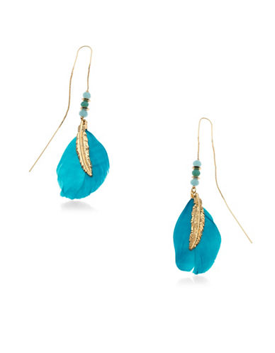 Guess Goldtone Threader Feather Earring-TURQUOISE-One Size