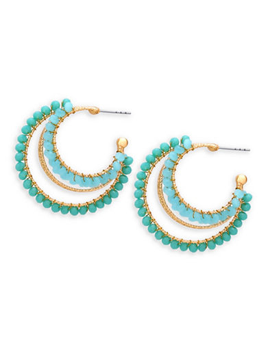 Guess Goldtone Beaded Three-Quarter Hoop Earrings-TURQUOISE-One Size