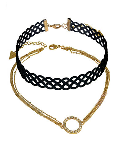 Guess Two-Piece Duo Infinity Choker Necklace Set-BLACK-One Size