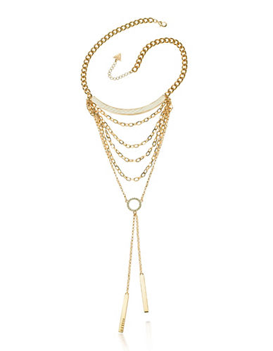 Guess Skin Is In Goldtone Multi Chain Collar Necklace-GOLD-One Size