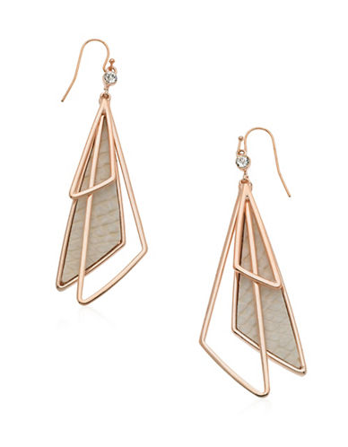Guess Skin Is In Rose Goldtone Multi Triangle Drop Earrings-ROSE GOLD-One Size