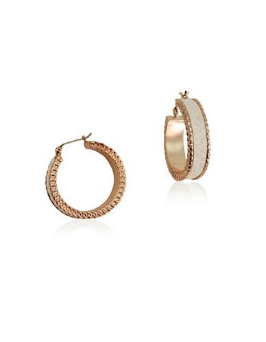 Guess Rose-Goldtone Hoop Earrings-WHITE-One Size