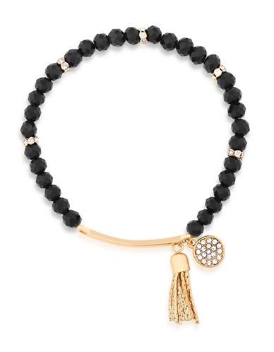 Guess Tassel Charm Stretch Bracelet-BLACK-One Size