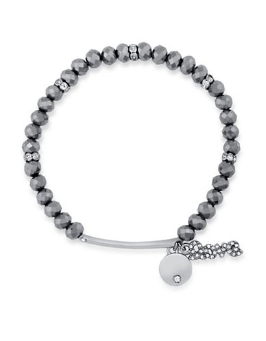 Guess Pave Charm Stretch Bracelet-SILVER-One Size