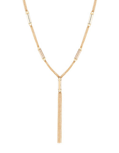 Guess Station Glitter Tassel Necklace-GOLD-One Size