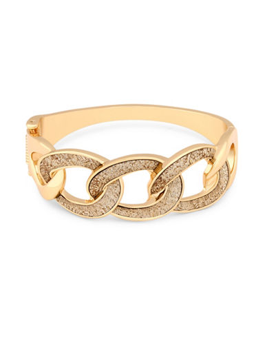Guess Glitter Curb Chain Cuff-GOLD-One Size