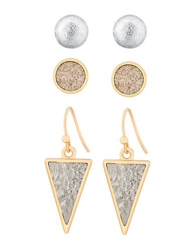 Guess Glitter Three Pair Earrings Set-GOLD-One Size