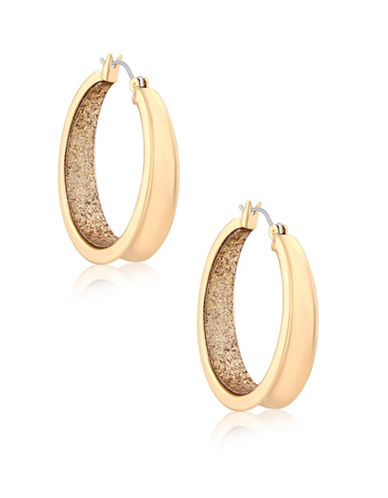 Guess Glitter Gold Hoop Earrings-GOLD-One Size