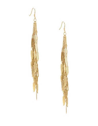Guess Goldtone Feather Earrings-GOLD-One Size